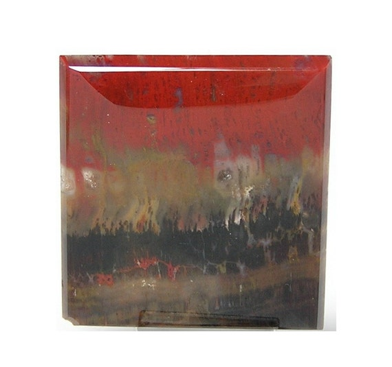Imperfect Red Flame Porcelain Jasper Stone Cabochon Rectangle Flat Back Semi Precious Unset Loose Jewel