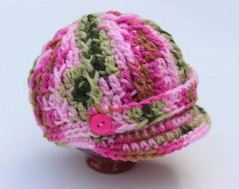 Baby Girl Pink Camo Newsboy Brim Cap / Hat / Beanie - Knit / Crochet - Baby Gift