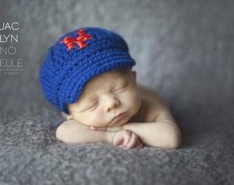 New York Mets Cap - Hat - Knitted / Crochet - Baby Gift / Newborn - Photo Photography Prop - Baseball