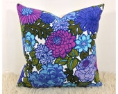 "Cushion Cover 1960s 70s Vintage Purple Flower Power Fabric 16"" x 16"" Bohemian Pillow"