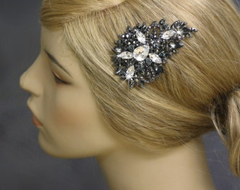 Bridal Hair comb, Crystal Hair Comb, Black Diamond, Gray, Gun metal, Wedding, Vintage