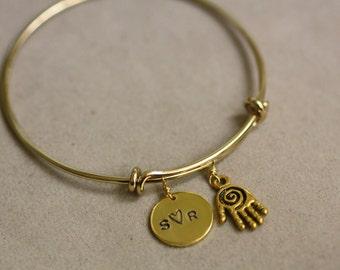 Custom Initial-adjustable bangle  , Perosnilized Bracelet, Initial Bracelet, Initial Bangle, Gold Bangle Bracelet, Monogram, Hamsa Hand
