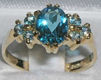 Elegant 14K Yellow Gold Total 2ct Natural Blue Topaz Engagement  Ring, Solitaire Style Wedding Ring -Made in England - Customize:9K,18K Gold