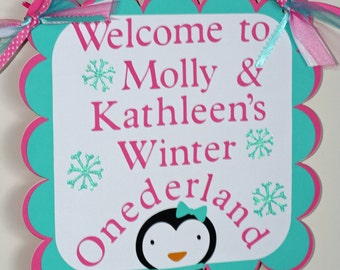 Girl Penguin Winter Onederland Door Welcome Sign, Winter Wonderland, Penguin Birthday, Birthday Banner