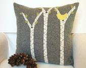 Decorative Throw Pillow, Rustic Cabin Pillow, Birch Tree Pillow, Yellow Bird Pillow, Green Leaves Pillow 16x16 Pillow