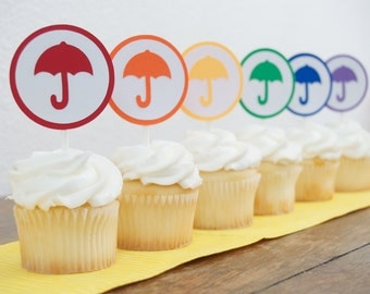 Set of 12 - Umbrella Cupcake Toppers -  Rainbow Baby Shower - Rainbow Cupcake Toppers- Rainbow Party Decor