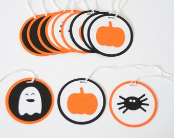 Halloween Decor, Halloween Party Favor Tags, Set of 12, Halloween Bag Tags, Ghosts, Spiders, Pumpkins