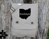 Ohio BUCKEYE Canvas Messenger Bag - Laptop Bag - iPad Bag - Diaper Bag - School Bag