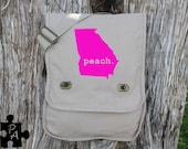 Special Edition Georgia PEACH with Pink Design Canvas Messenger Bag - Laptop Bag - iPad Bag - Diaper Bag - School Bag