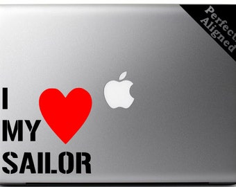 I Heart My Sailor - White Text with a Red Heart - Navy Spouse Macbook/Laptop Decal - Navy Wife - Laptop Decal