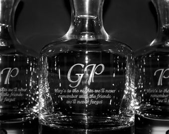 Engraved Whiskey Decanter w/ Initials & Custom Text - Groomsmen Gift Ideas