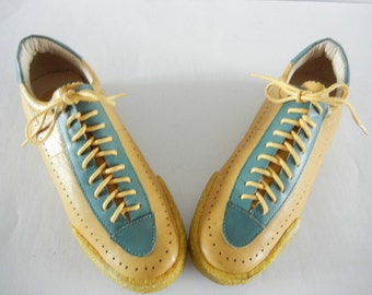 Vintage Leather Shoes 1990s Great Condition Made in Italy Ladies Shoes Sport Shoes Loafers Ladies Yellow Shoes  Casual Shoes Dress Shoes