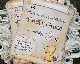 Classic Winnie the Pooh Invitations - Set of 10 - Classic Pooh Baby Shower Invitation-Birthday Invitation-Vintage Pooh-Classic Pooh Party