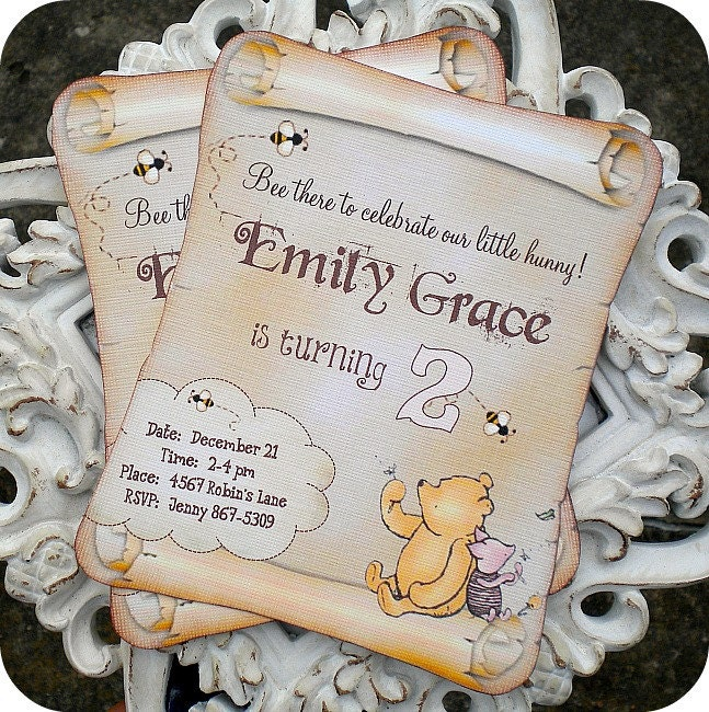 pooh thank you cards | etsy, Baby shower invitations