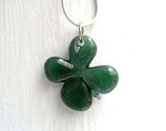Four Leaf Clover Necklace, Shamrock Glass Boro Pendant, Lucky Charm for St Patrick's Day