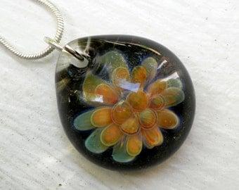 Glass Implosion Pendant, Flamework Lampwork Boro Necklace, Handmade jewelry, Gold n Greens