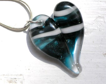 Glass Heart Necklace, Lampwork Boro Jewelry, Hand Blown Boro Pendant, Handmade Heart, Sparkling Blue Twisted White