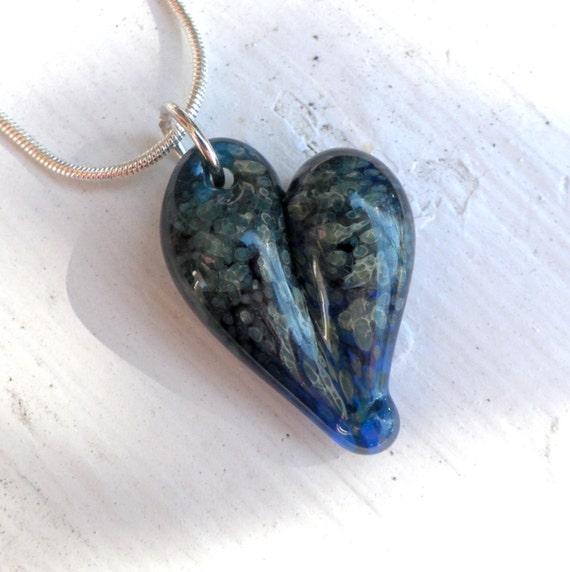 Glass Heart Pendant Jewelry Necklace Lampwork Hand Blown Boro Heart Blue Speckles