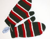 Mittens - Hand knit and Lined, Evergreen with Red and White Stripes (Large)