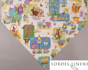Easter Table Runner, Large Easter Table Runner with Easter Bunnies, Lambs, Yellow Ducks, Birdhouses, Easter Baskets, Easter Eggs, Home Decor