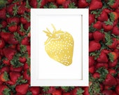 GOLD FOIL PRINT Strawberry - Metallic Gold