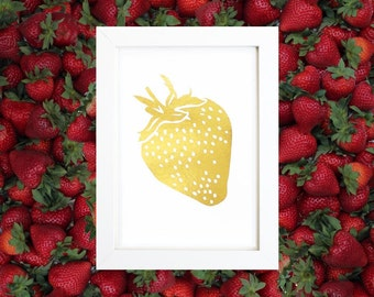 Gold Strawberry Print Gold Foil Strawberry Print Strawberry Art Gold Strawberry Art Strawberry Wall Print Strawberry Decor Kitchen Print