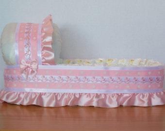 BIG pink rocking horse polka dot girl diaper bassinet baby shower gift basket or centerpiece