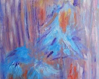 Blue Ballerina, Oil Painting Ballerina Impressionism 16,20 Abstract Ballerina, Original Oil, Kathleen,FromGlenToGlen