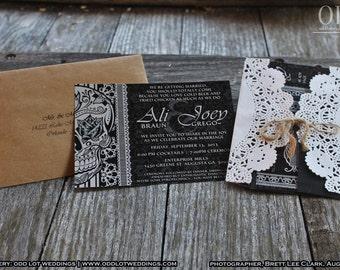 Halloween Skull Wedding Invitation DIY Black And White Fancy Sugar Skull Day of the Dead-Dia De Los Muertos- Wedding Initation Package
