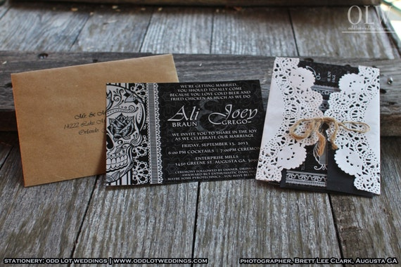 Halloween Wedding Invitation: Halloween Wedding Invitation Set Skull Invitation Sugar Skull