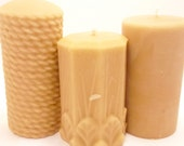 Beeswax Candles -3 Beeswax Pillars- Rope, Flowers and Leaves, Smooth-  (Each BURNS FOR 40-60 HOURS)