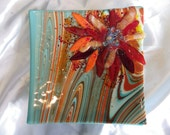 stunning turquoise and orange swirl fused glass floral design sqaure platter