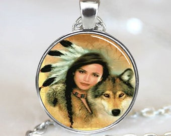 Native American Woman with Wolf pendant, Native American  pendant charm, Native American necklace  pendant (PD0016)