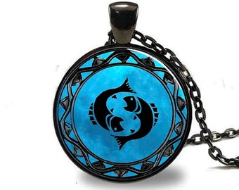 Pisces Pendant, Pisces Necklace, Pisces Jewelry, Pisces Charm Black (PD0344)
