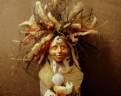 The Goddess Thetis, Spirit Doll, Batik, Beads, Shells, Leather, Fiber, Brown, Handmade