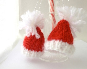 2 Santa Hat Ornaments- Bright Red|White- Knitted Miniature Christmas Decorations- 2 Tiny Knit Red Caps- Doll Hats