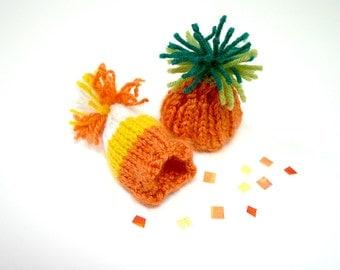 Miniature Fall Knit Hats- Two Autumn Knitted Caps- Fall Miniatures- Pumpkin Hat- Candy Corn Hat- Halloween, Doll, Pet