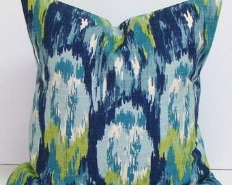 BLUE GREEN PILLOW.14x14.Pillow.Pillow Cover.Decorative Pillows.Housewares.Blue Pillow.Green Pillow.Watercolor.Green.Blue.Cm.Cushion.cm