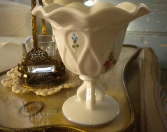 WestMoreland Milk Glass Compote with Painted Flowers