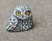 hand painted owl, from natural rock, only one piece in the world
