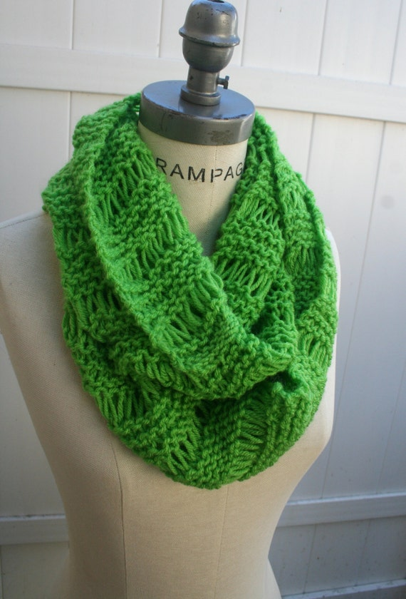 Lime Green Knit Scarf Hand Knit Scarf Women Scarves Winter Neckwarmer  Knit Scarves For Teenagers