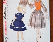 1950's Simplicity Girl's Dress and Vest pattern - Size 10 - No. 3722