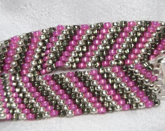Pink, Gray and Silver Striped Peyote Stitch Beaded Bracelet