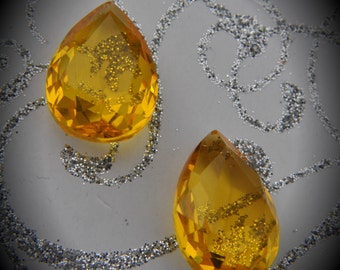 Citrine 18x13x7mm AAA High Quality Glass Pearshape Faceted Unfoiled Pointed Back Stones
