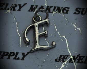 Letter E Sterling Silver Plated Charm