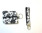 Black and White Key Ring - Cloth Keychain -  Quilted Accessories - Ear Bud Case -White Key Fob - Handmade Keyholder - Fabric Key Fob