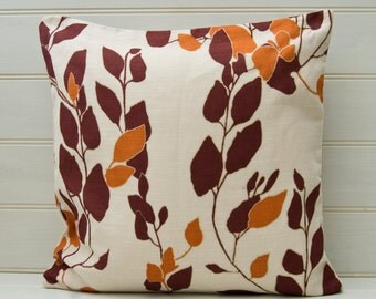 Cushion Cover Burnt Sienna  - Fall Autumn Leaf Leaves Pattern 16ins 18ins or 20ins sizes Linen Cotton Mix Fabric