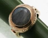 Vintage 14k rose gold Grey Moonstone Round Ring large engraved 12mm Estate
