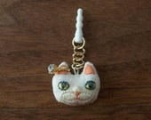 Cat Face earphone jack accessory - White (ears are Orange)
