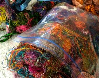 1 oz Sari Silk Threads Free Combined Shipping Mixed Media Felting Spinning Silk Paper Weaving Crochet Fiber Supply Textile Art Supply